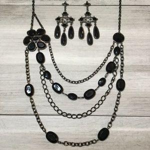 Torrid Gemstone Necklace and Earring Set Black.